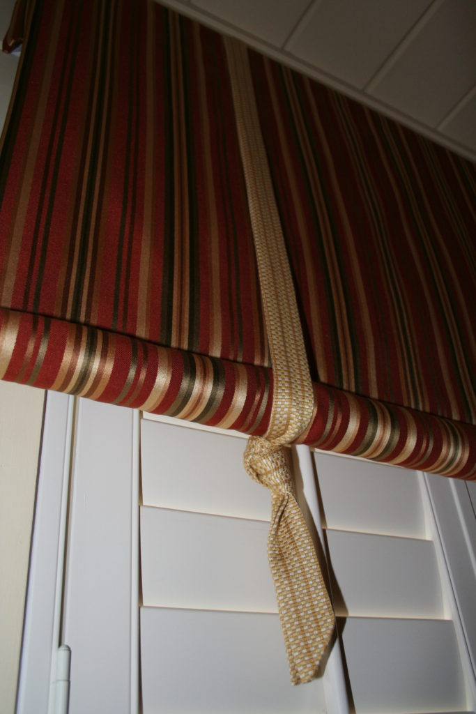 Closer look at the valance and shutters, bedding, pillows and more