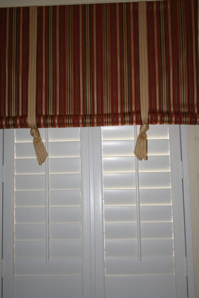 Valance and shutters, bedding, pillows and more