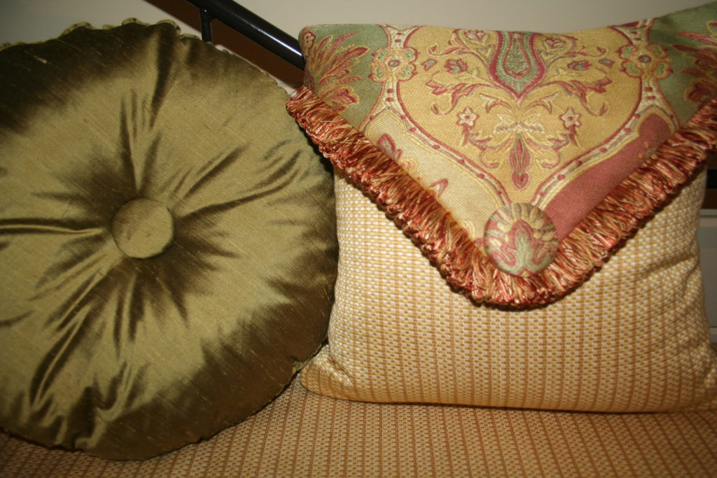 Silk Round and Envelope Pillows, bedding, valance, shutters