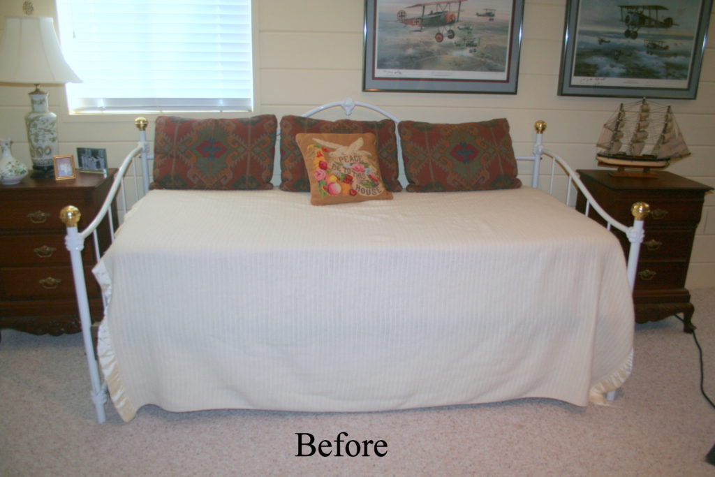 Before Daybed Makeover, pillows, valance, shutters