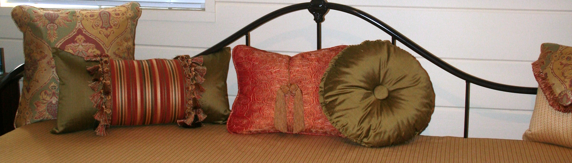 Daybed Makeover Completed with pillows, shutters, valance