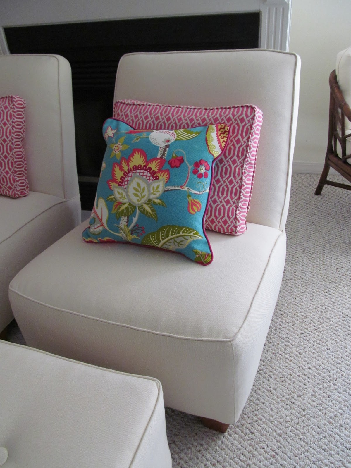 Sunbrella Fabric Facelift with Custom pillows #upholstery #slipcovers #sunbrellafabric #whiteslipcovers #kippiathome
