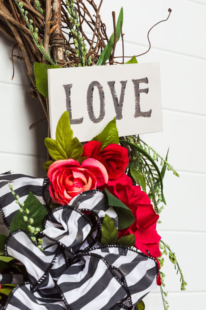 Rose Wreath with sign