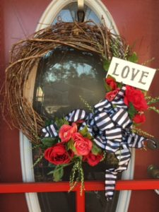 Valentine's Wreath for Mother DIY, Beautiful Roses, black and white bow, hand-painted sign, Learn how #valentine #love #roses #blackandwhite #ribbon #kippiathome