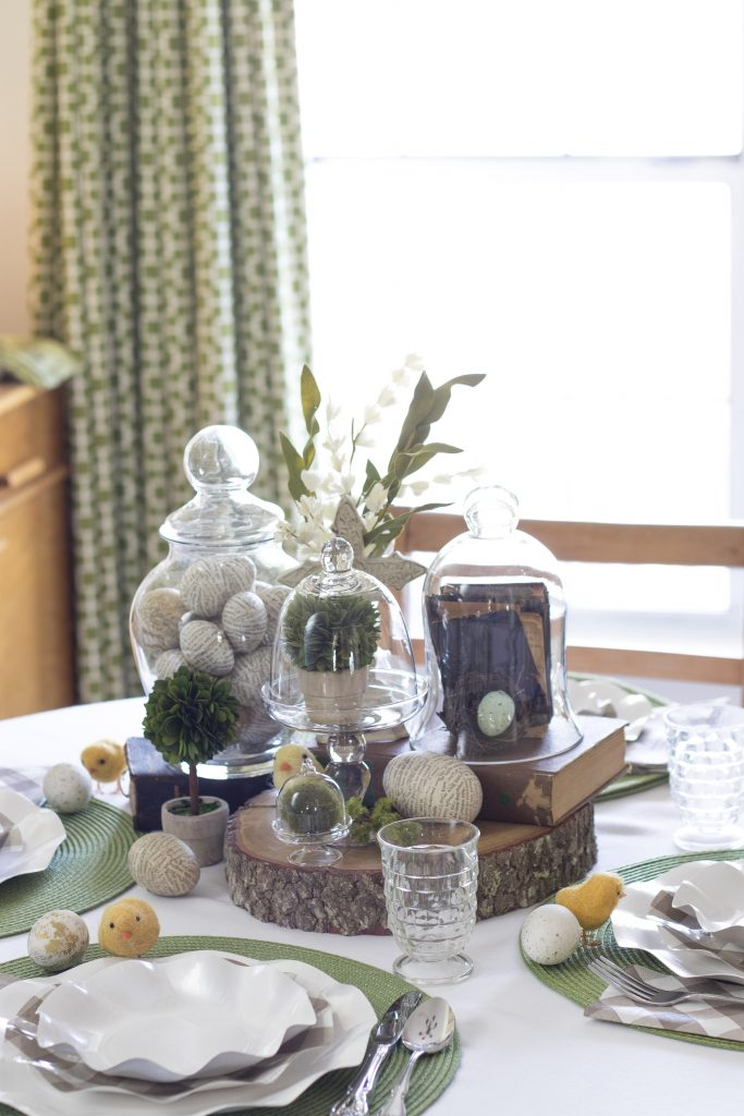 Adult table loaded with breakable items, Easter Table, Found items