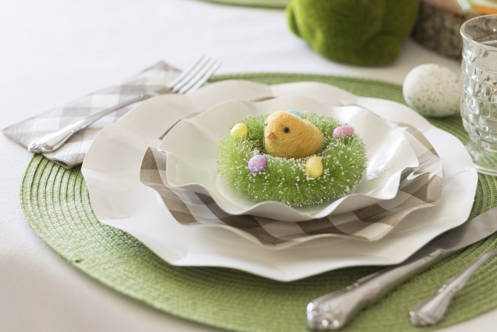 Simple Kid Friendly Easter Table Setting, Fun and safe for kids Easter Table Setting