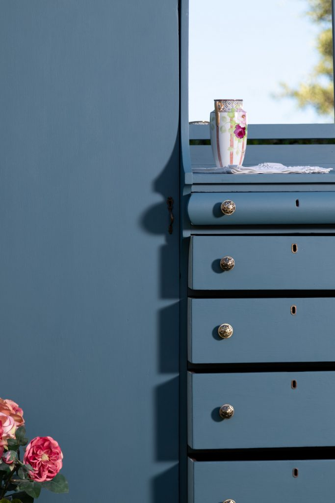 Closeup view of the wardrobe drawers
