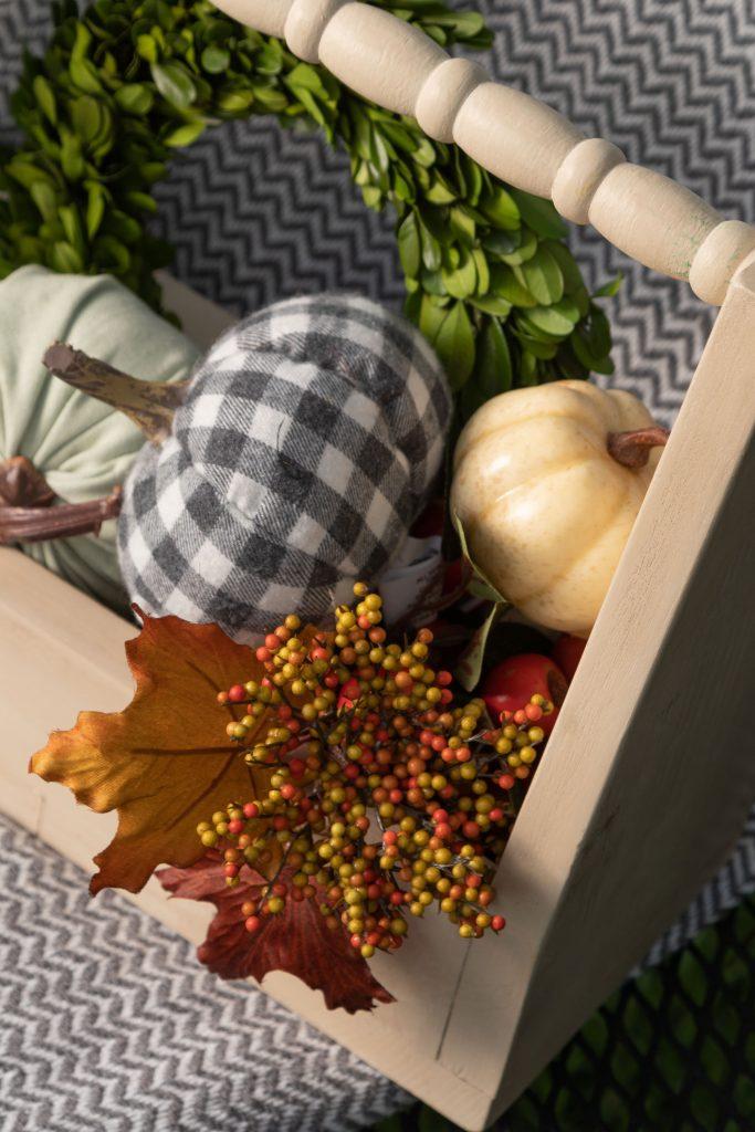 Grey check pumpkin and fall floral tote