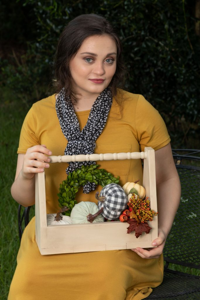 Olivia with fall decor perfect wooden tote