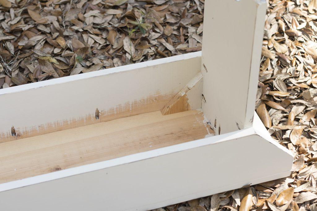 Rustic bench underside