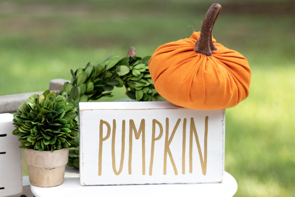 Handmade Pumpkin sign for fall, Halloween and Thanksgiving