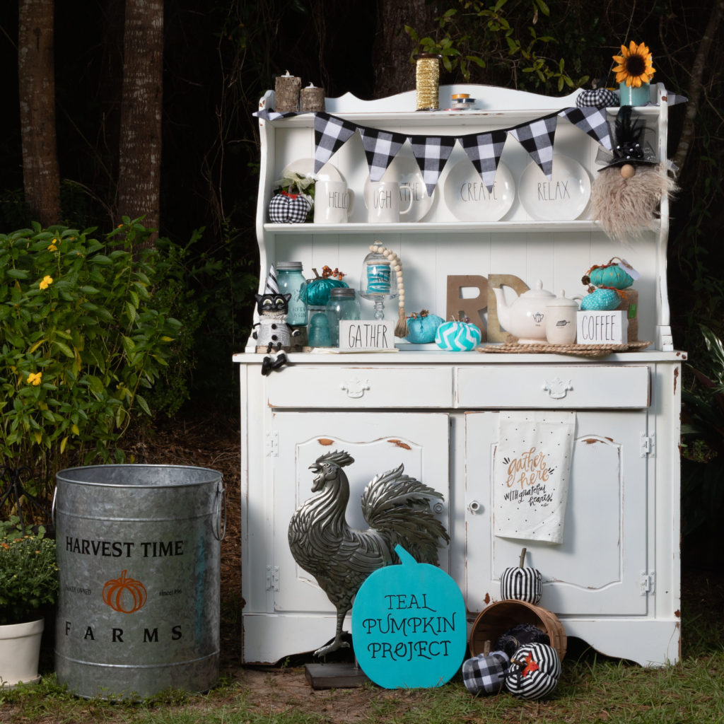 Vintage Kitchen Hutch Decorated with Teal Pumpkin Project