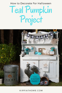Teal Pumpkin Project hutch displayed with teal pumpkins