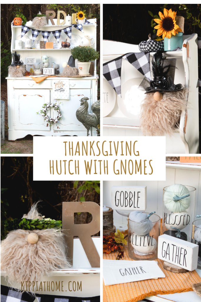 Thanksgiving Decorations for a kitchen hutch