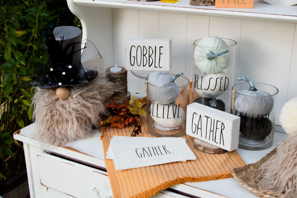 Thanksgiving Decorations DIY easy make Gnome and block signs