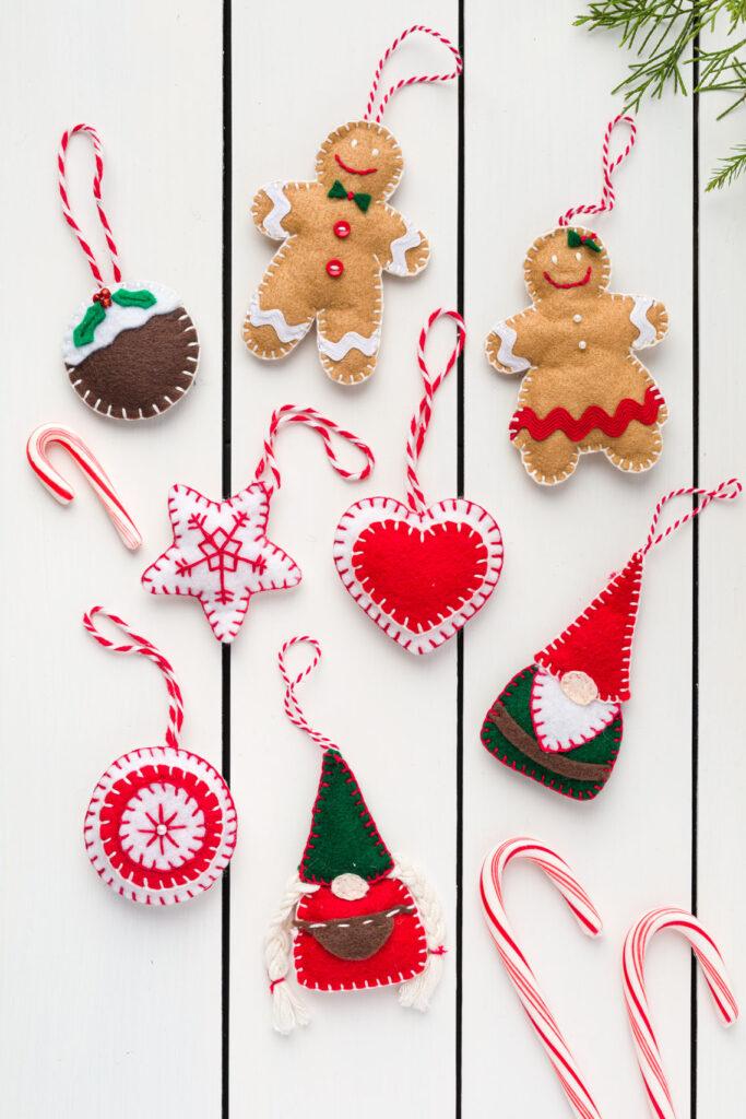 Handmade Felt Christmas Ornaments on a wood table