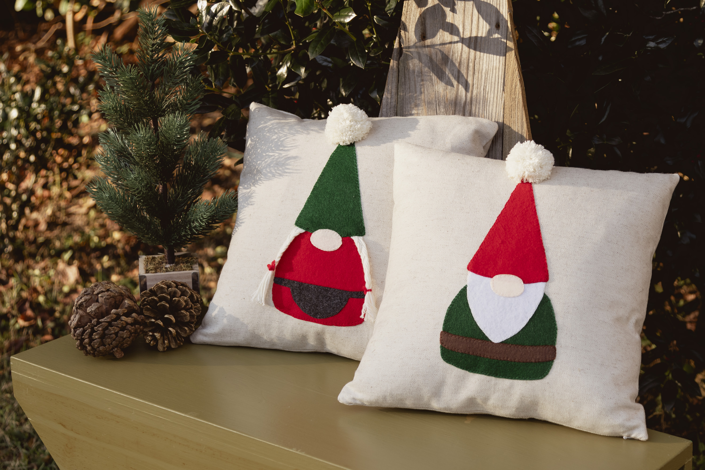 Gnome applique pillows