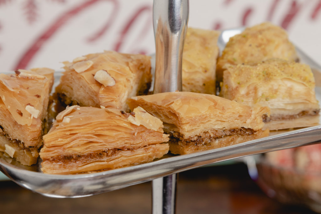 Baklava on a tiered tray