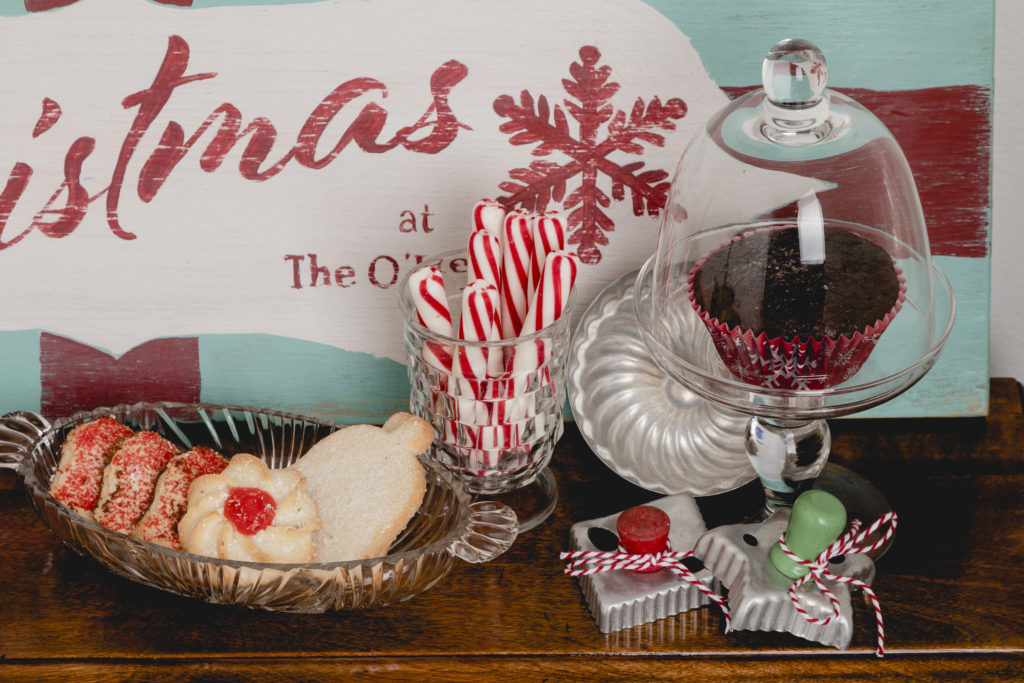 Vintage Christmas cookie cutters, glassware and molds