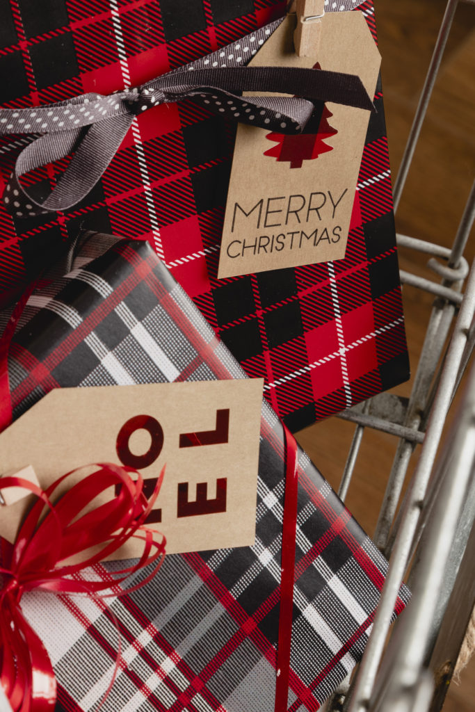 Fun plaid gift wrappings with custom gift tags