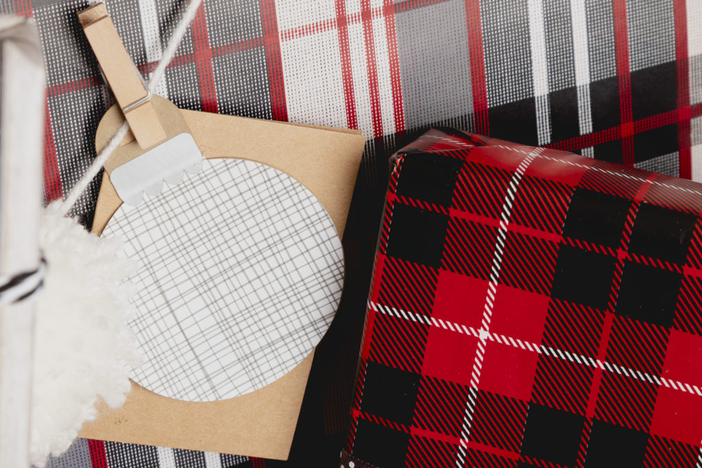 Plaid gift wrap with custom gift tag