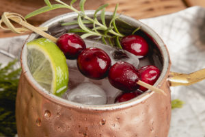 Frosty Cranberry Moscow Mule with garnish