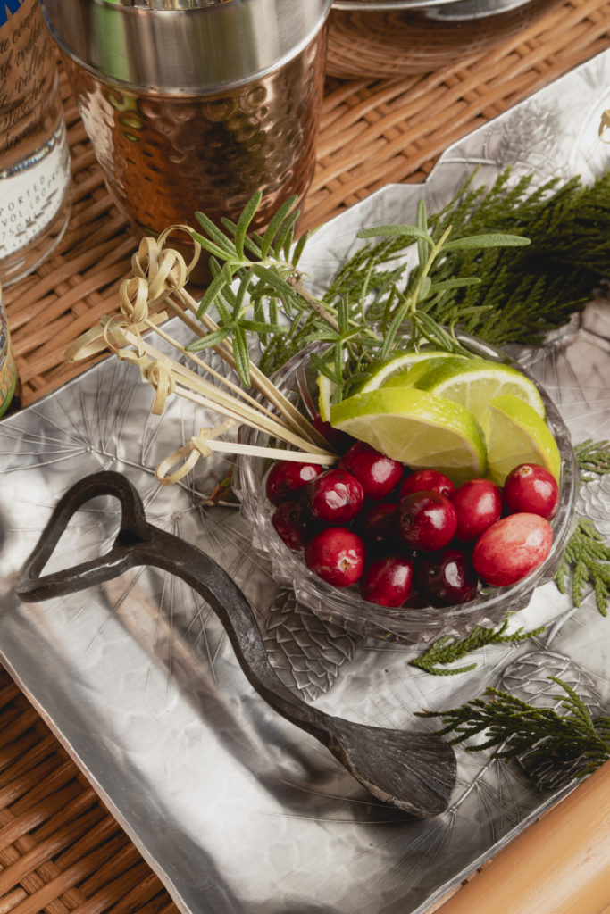 Christmas Moscow Mule garnishes
