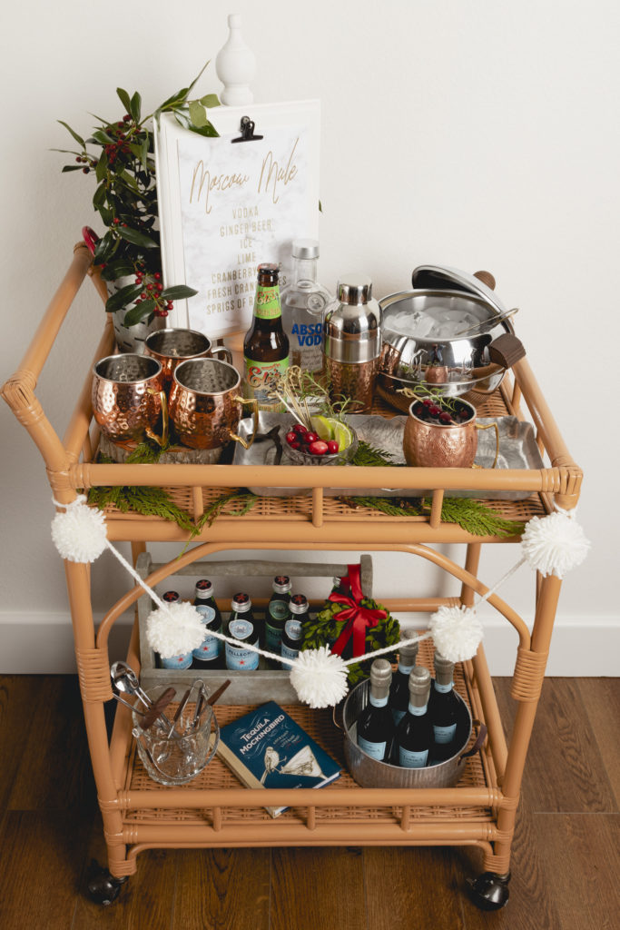 Vintage bar cart decorated for Christmas