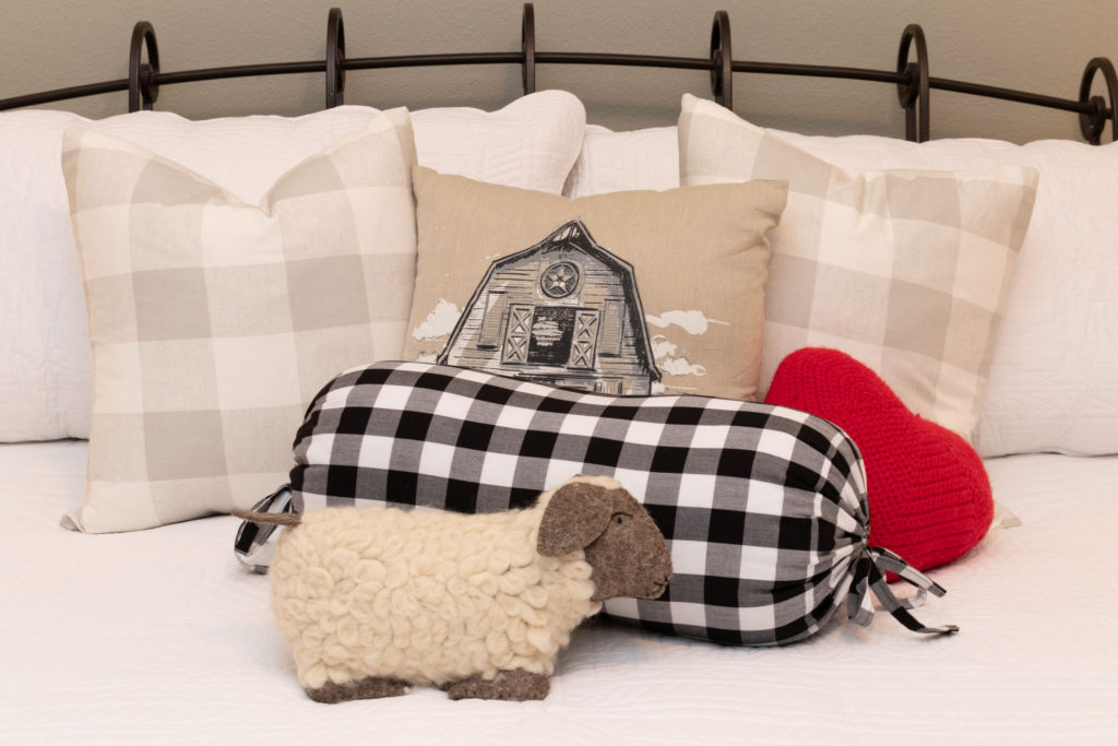 Farmhouse Pillows in buffalo check, lamb and a red heart