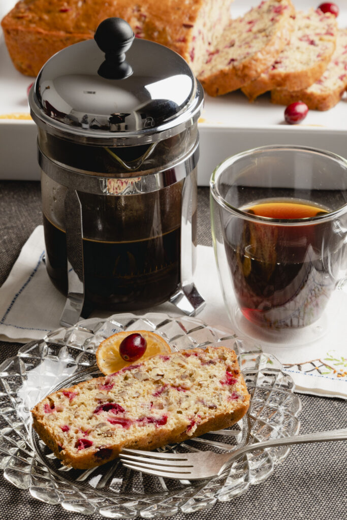 French press coffee and bread