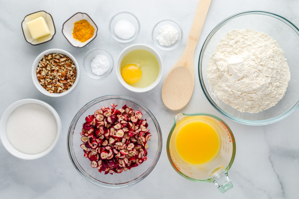 Ingredients for cranberry nut bread