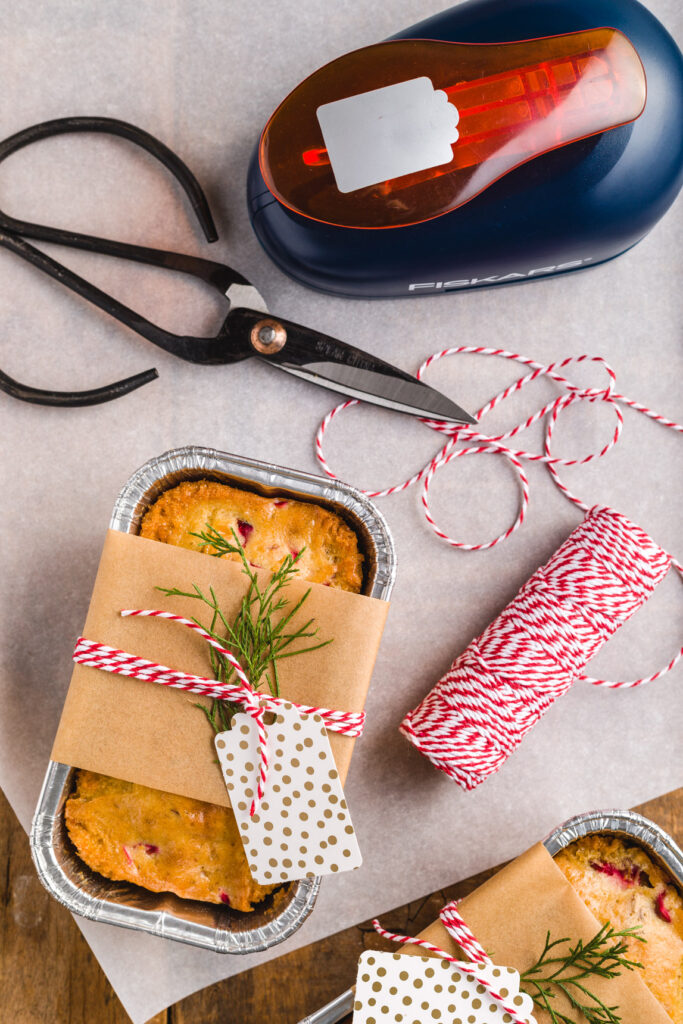 Gift wrapped mini loaf of Cranberry Nut Bread