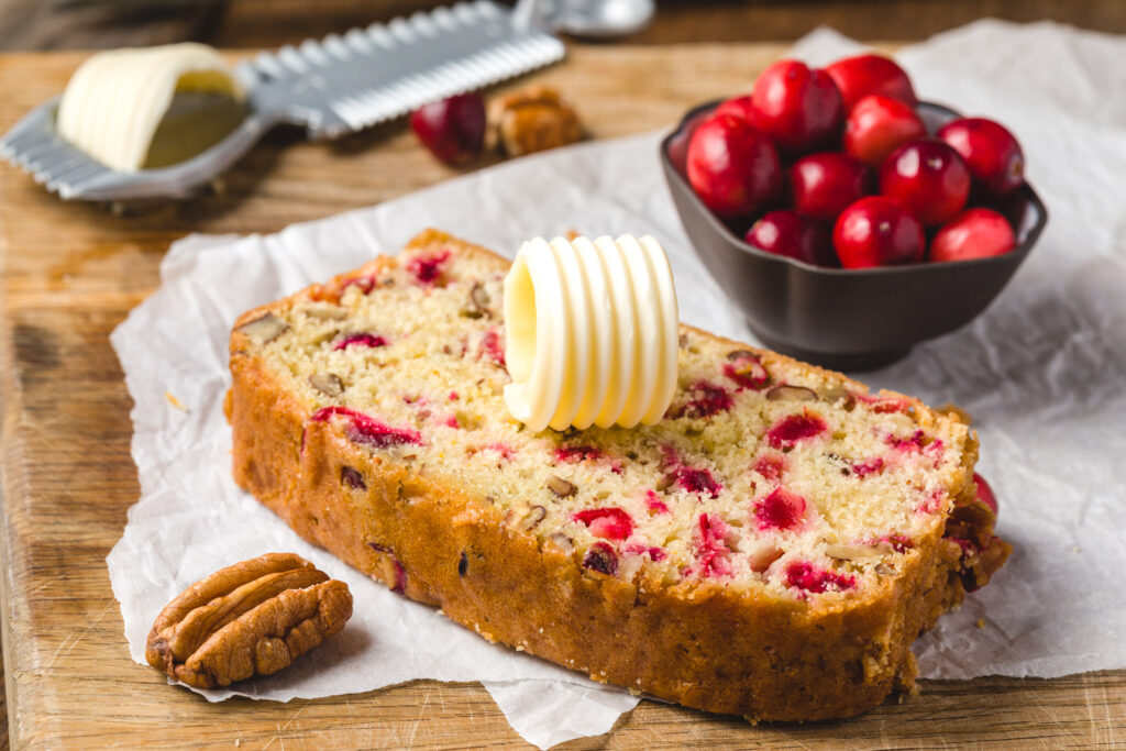 Cranberry bread with butter curls