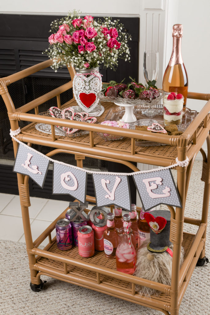 Valentine's Bar Cart Styled, Easy Sweet Treats, Gnomes, SVG File Love Banner, Recipes #floral #raspberryparfait #pinkdrinks #chocolatestrawberries #kippiathome