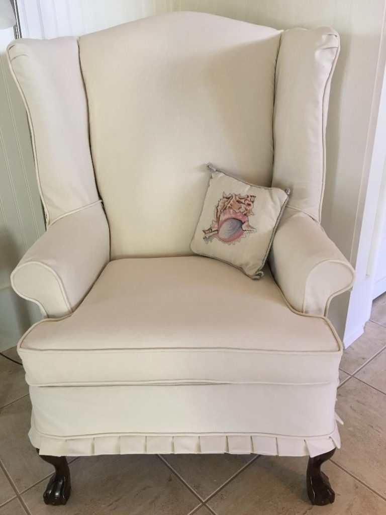 Wingback Chair Slipcover ready for the beach home, Twill Slipcovers, Beach Living, Alys Beach