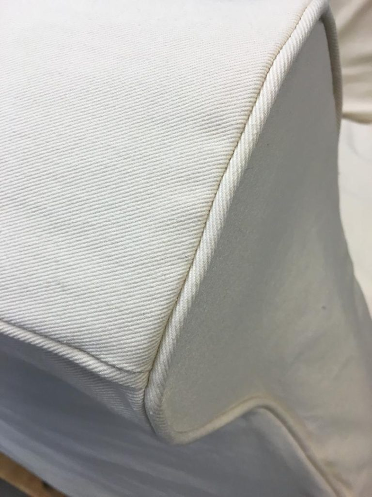 Chair Slipcover Arm white cotton twill fabric