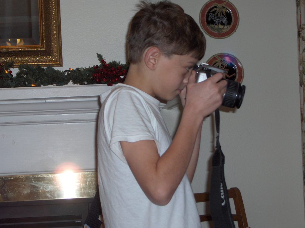 Budding photographer, first day with his first camera