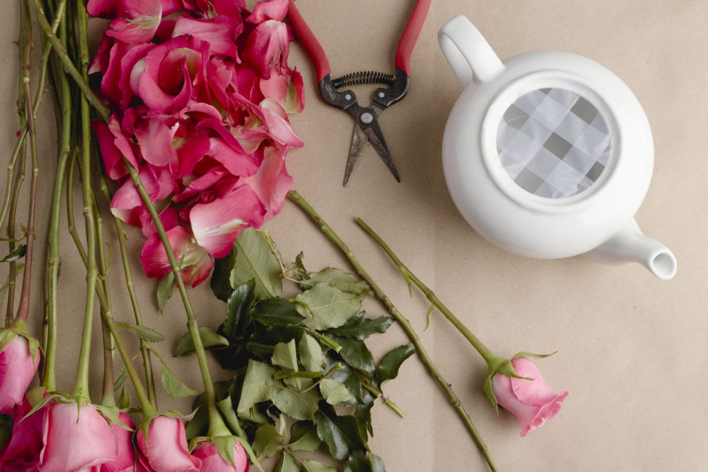Cutting roses to length, teapot floral arranging with roses DIY