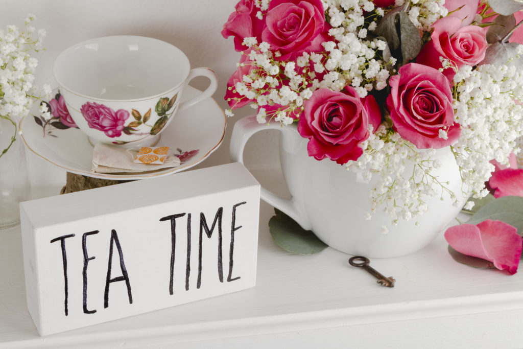 Teapot Arrangement and Tea Time Sign