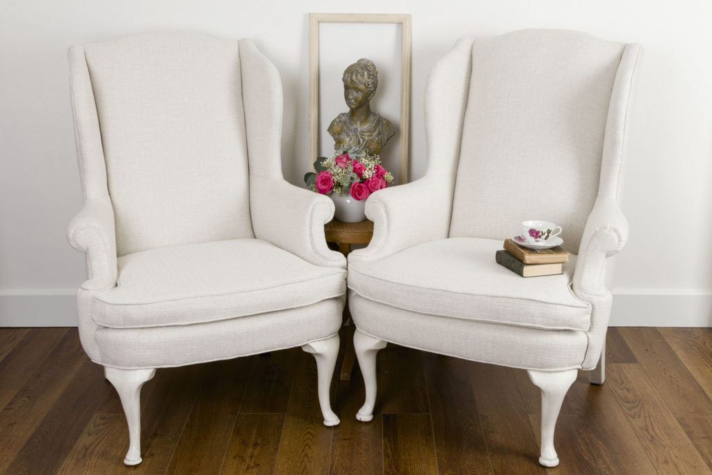 Wingback Chair in white fabric Upholstery Update