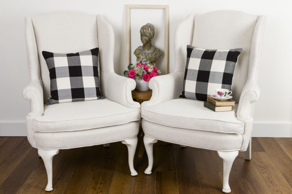 New Upholstered Wingback Chairs with Buffalo Check Pillows
