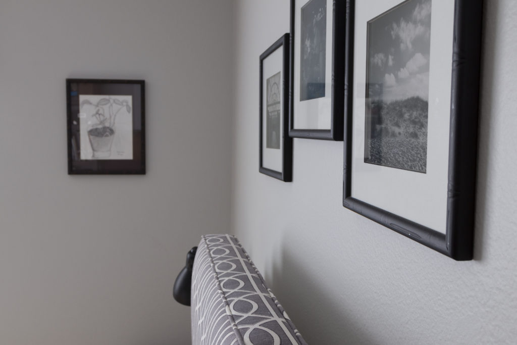 Collection of framed art, makes a statement when displayed together, modern boys bedroom makeover