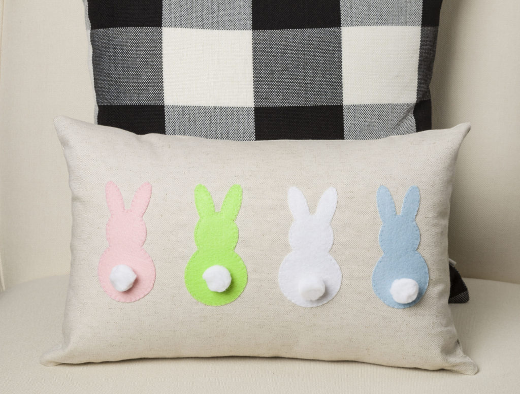 Easy Bunny Applique Pillow DIY, Easter and spring deocr
