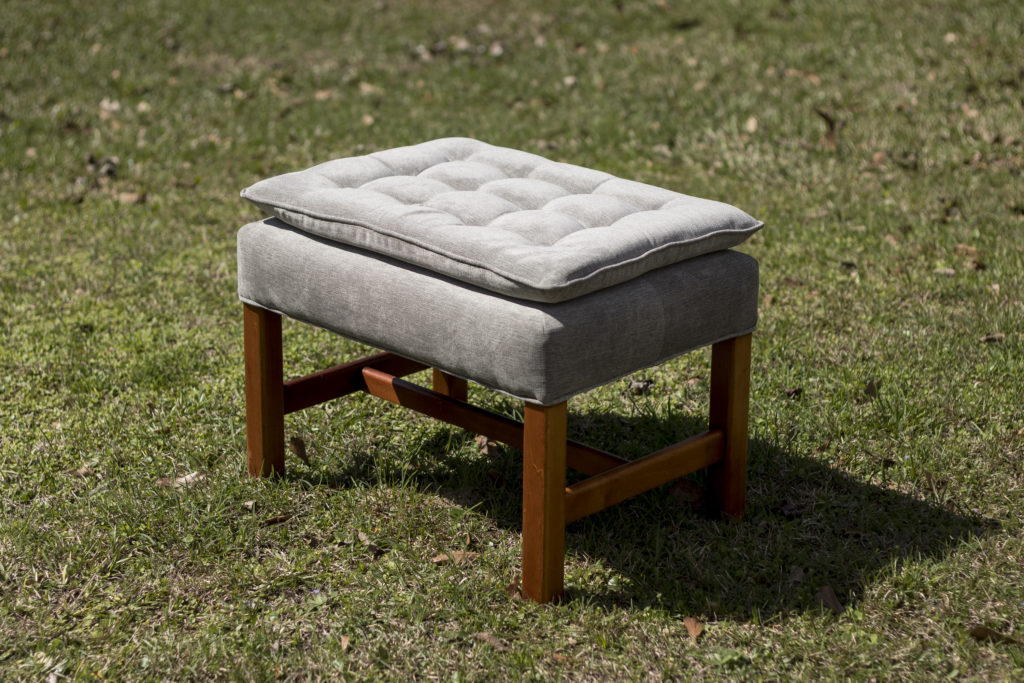 Ottoman made new again with fresh upholstery, update with upholstery, cornice boards, head board, pillows