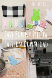 Easy Bunny Pillow, Cricut file, Easter decor