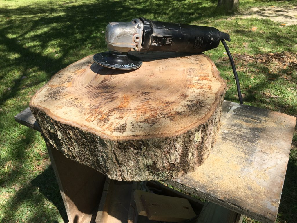 Tree slice ready to finish, and use as table