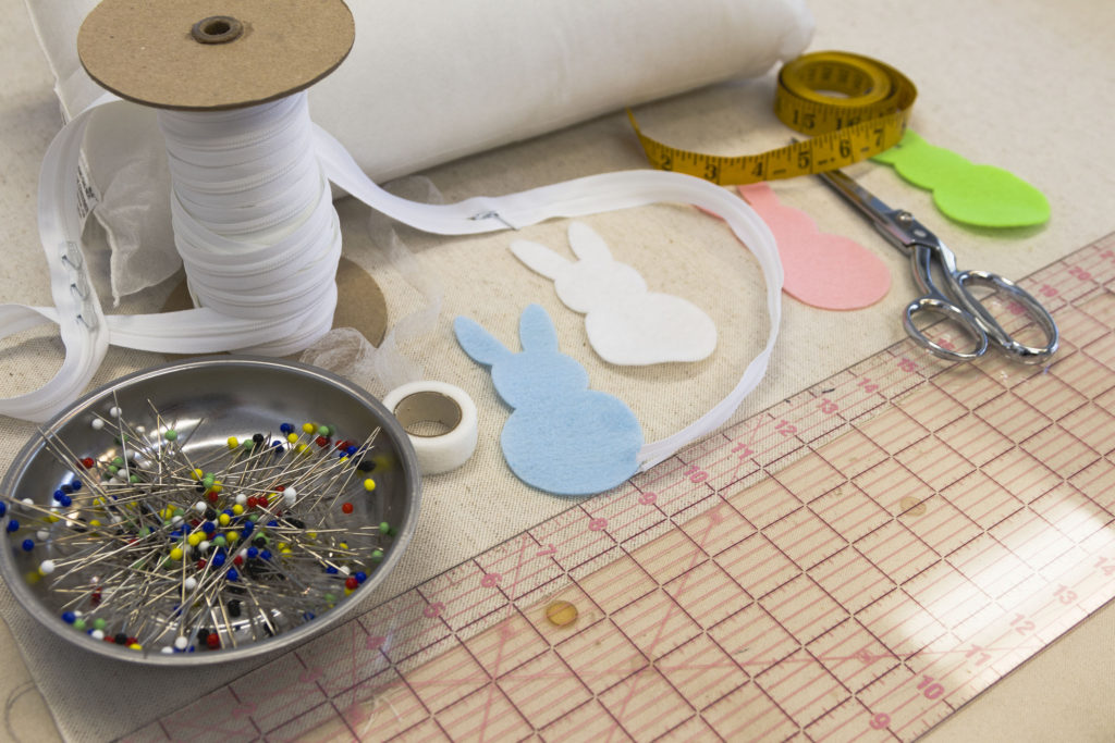 Supplies for the bunny pillow, Free pattern, SVG file, tutorial
