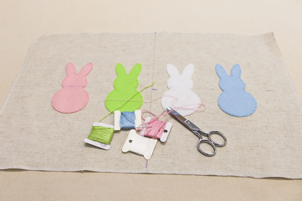Bunnies ready to be sewn into a pillow, easy bunny pillow