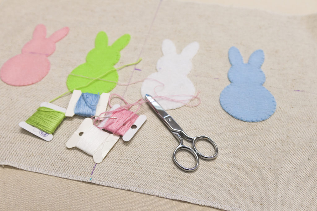 Finished stitching bunnies, Bunny pillow with free downloads