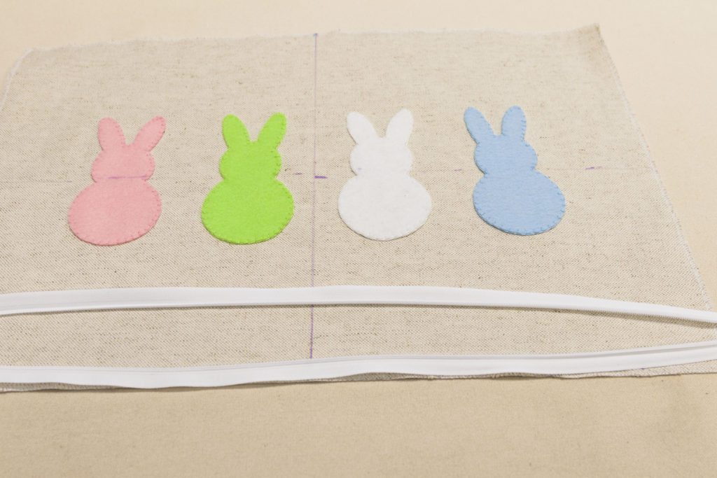 View of zipper, easy zipper placement, bunny pillow DIY